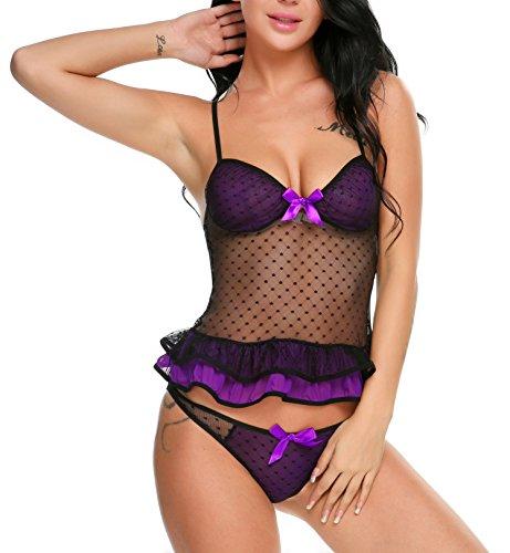Avidlove Sexy Dessous Set Damen Lingerie Reizwäsche Negligee Unterwäsche Babydoll Bustier BH Nachthemd A 1-Violett