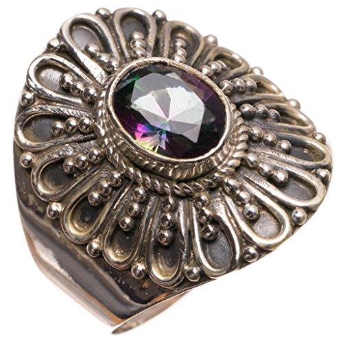 stargems (TM) Natürliche Mystical Topaz handgefertigten mexikanischen 925Sterling Silber Ring, UK Größe P