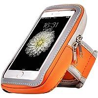 Premium Arancione cerniera Palestra fascia da braccio per iPhone 6Plus/Samsung