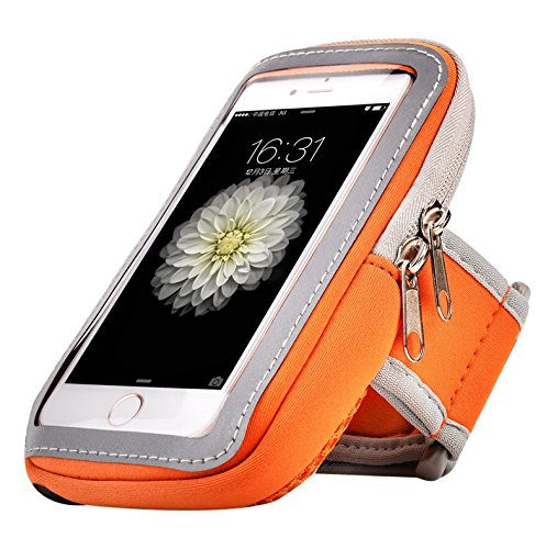 Premium Orange Running Sport Gym Reißverschluss Armband für iPhone 7 Plus/Samsung Galaxy S8/S7 Edge/S6 Edge + Plus/A5 J3 J5/BLU Vivo 6/LG G5/LG Stylus 2/LG Nexus 5 x (Sprint Nexus 5)