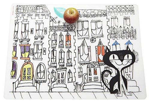 modern-twist MT 011403 Enfants Set de Table Chat dans la Ville, Silicone, Blanc, 40 x 32 x 1,12 cm