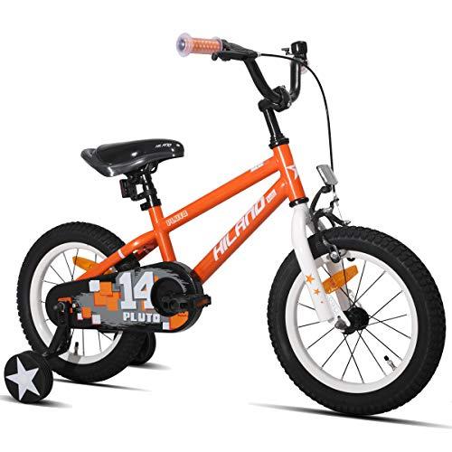 Hiland Pluto 14 Zoll Kinderfahrrad für Jungen Mädchen 3 4 5 Jahre mit Stützräder, Handbremse und Rücktritt Orange