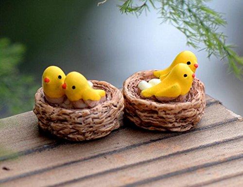 HSDDA 2Pcs Miniatur Nest mit Vögeln DIY Harz Fee Garten Handwerk Dekoration