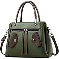 6cfbc54dfb Oruil Women PU Leather Shoulder Bag With Double Zip Top-handle Handbag  Messenger Bag For