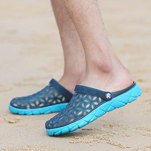 Xing Lin Beach Flip Flop Estate Uomini Foro Pantofole Scarpe Scarpe Da Spiaggia Alla Moda Di Metà Femmina Pantofole Coppie Di Grandi Dimensioni Sandali 235 hole blue new