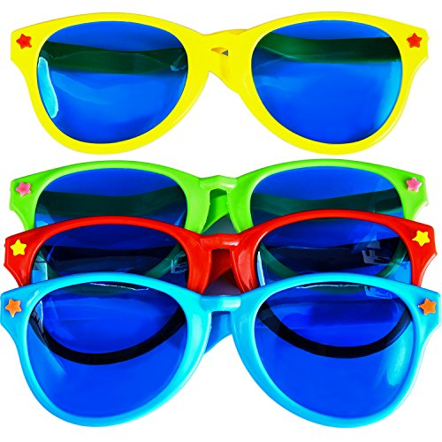 9f944b868f 4 Pieces Jumbo Sunglasses Plastic Glasses Party Eyeglasses for Beach Fancy  Dress Party Supplies
