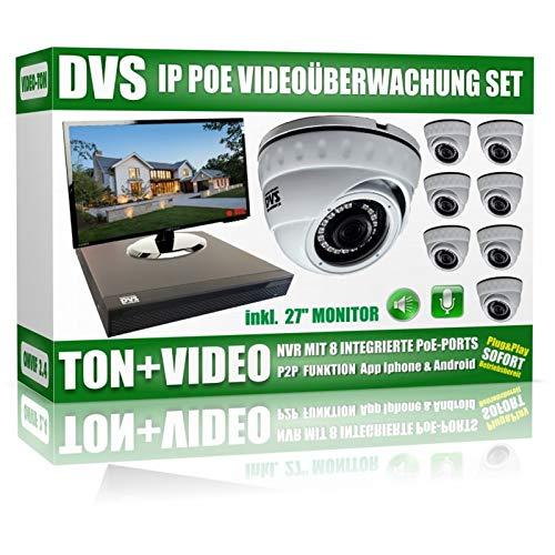 "Preisvergleich Produktbild Video und Tonaufnahme Videoüberwachung Set mit 8 Kameras,  PoE NVR inkl. 27"" Monitor V2-4000GB Festplatte"