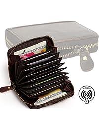 [Sponsored]RiaTech RFID Blocking Genuine Leather 11 Slot Credit Card Holder Wallet Zip Around Purse