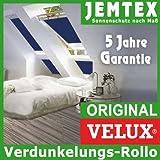 Original VELUX Premium Verdunkelungs-Rollo DKL U08 2055S Dekor Uni Blau passgenau für GGL GPL GHL U08 oder 808 mit Aluminium Führungsschienen