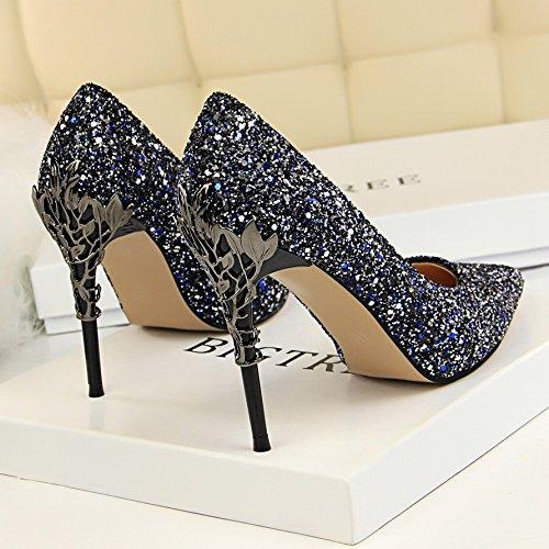 Xue Qiqi Cuoio punta argento di alta scarpe tacco ammenda con gradiente singolo femmina scarpe nozze d'oro scarpe,37, blu