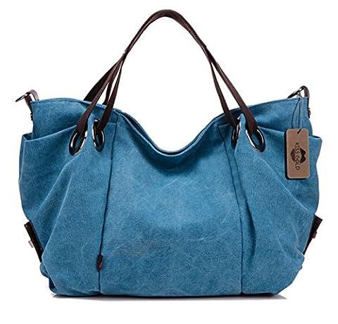 KISS GOLD (TM) Sac à main épaule / Sac Bandoulière / Sac large capacité en toile pour femme / fille(Bleu)