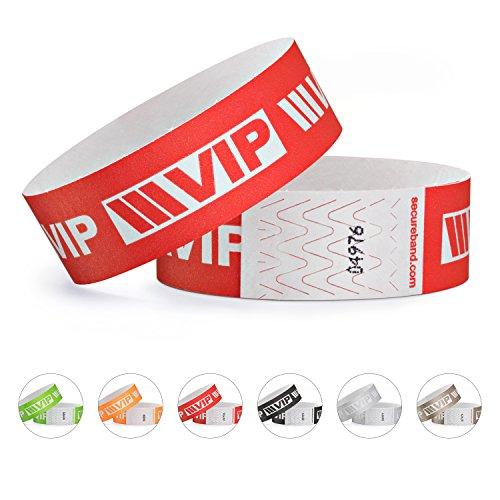 linie zwo, Confezione da 100 braccialetti di identificazione Tyvek 19 mm - VIP New Design, Rosso