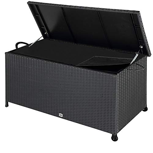 Deuba Auflagenbox | 122x56x61 cm | Poly Rattan | Wasserdicht Rollbar 2 Gasdruckfedern Kissen Garten Box Truhe schwarz