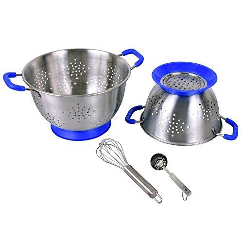 Kosma 7 Pc Edelstahl Küchenbündel Set - 2 Stk. Deep Colander Set mit weichem blauen Farbe gepolsterten Griff, 4Pc Messlöffel Set, 1 Stück Schneebesen 20cm Deep Colander