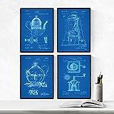 Nacnic Vintage - Pack de 4 Láminas con Patentes de CAFETERAS. Set de Posters con inventos y Patentes Antiguas. Elije el Color Que Más te guste. Impreso en Papel de 250 Gramos