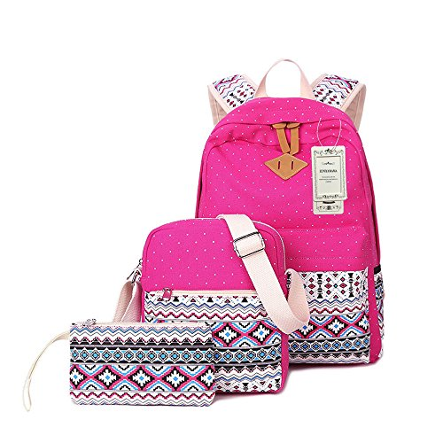 ZUNIYAMAMA 3 Peice Mini Toile Mode Sacs à dos + Sacs à bandoulière + Sac pour Jeunes filles Sacs à dos Cartables rose