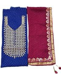 Georgette Kurti Handwork Gota Patti Neck Work With Georgette Dupatta Rajasthani Jaipuri Aari Work Dupatta With...
