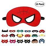 EXTSUD 18 Stück Kinder Masken Cosplay Party Halbe Augenmasken für Kinder Erwachsene Partytasche...