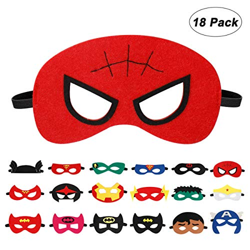 EXTSUD 18 Stück Kinder Masken Cosplay Party Halbe Augenmasken für Kinder Erwachsene Partytasche Füller Filzmaske mit Verstellbarem Elastischem Seil,ab 3 Jahren