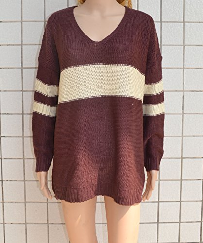 Femme Tunique Casual Rayure Pulls Large Col Rond Top à Manches Longues Sweat-shirts Mini Robe Marron