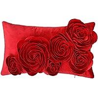 JWH Blumen Rosa 3D Kissenbezug In 100% Velvet Pattern Sechs Blumen Stereo Handgefertigte Dekorative Kissenbezug Für Stuhl Schlafsofa Schlafzimmer 30x50 CM Rot