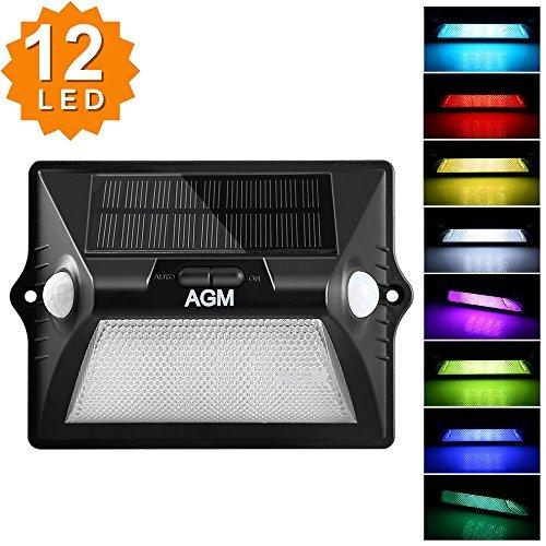 Luces Solares, AGM Lámpara Solar de Pared,12 LED Foco Solar Coloridas RGB Cambio de luz IP 65 Impermeable, 180 ° Granangular Luz de Exterior con Sensor de Movimiento para Casa, Jardín, Camino,Piscina (1 pieza)