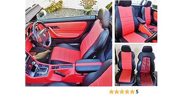 Topcar Athens 1 1 Autositzbezüge Kunstleder Mit Synthetik Rückseite Oberfläche Auto Sitzbezüge Rot Schwarz Schwarz Auto