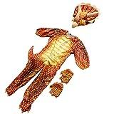 SM SunniMix 1 Pieza Mono de Sombrerería 1 Par de Guantes Escala Viva Dinosaurio para Haloween Fiesta de Disfraces de Lujo Accesorios para Adultos - Rojo