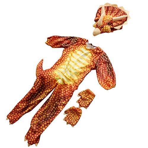 PETSOLA Kinder Kleinkind Dinosaurier Triceratops Overall Unisex Tier Halloween Kostüm 100cm - rot