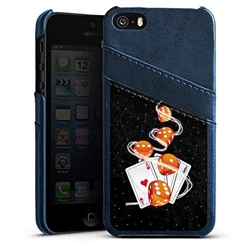 Apple iPhone 4 Housse Étui Silicone Coque Protection Dé C½ur Cartes Étui en cuir bleu marine