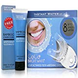 Dentist Made Teeth Whitening Kit | (7) x Applicators | 15 ml Pre-Loaded Tooth Whitening Gels | Light Activator | Non-Peroxide Whitening Kit by Instant Whites