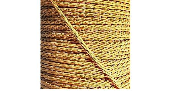Champagne dor/é Twisted vintage Tissu Flex c/âble d/éclairage 3/Core
