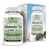 Vitamina D3 5000 I.E. di VITA1 • 90 capsule (fornitura per 24 mesi) • solo una capsula alla settimana • Fatto in Germania