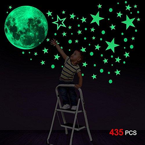 Konsait Luminoso Pegatinas de Pared, 435pcs Puntos Luna y Estrellas Adhesivos Decorativo de Pared Fluorescentes Decoración de la habitación para Chico Niña Bebé, Casa Interior Mural