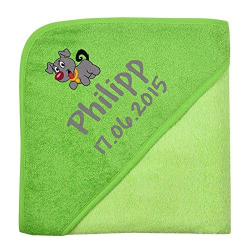 Wolimbo Kapuzenbadetuch mit Ihrem Wunsch-Namen und Wunsch-Motiv - Format: 80x80cm - Das individuelle und kuschelig weiche Badehandtuch für Mädchen und Jungs - Farbe: grün - Wählen Sie Ihr Wunsch-Motiv