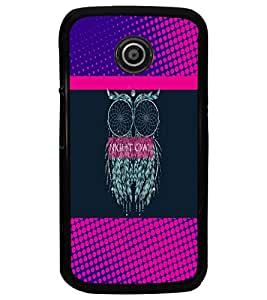 PrintDhaba Owl D-3532 Back Case Cover for MOTOROLA MOTO E (Multi-Coloured)