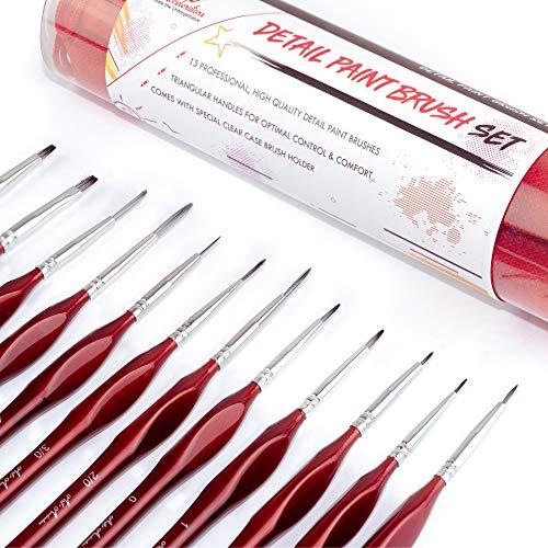 Fine Brush Set - 13 professionelle Acrylpinsel - dünne Pinsel zum Malen von Aquarellen, Gouachen, Ölgemälden, Akten und Miniaturen. Kleines detailliertes Pinsel Set - Acryl Pinsel-reiniger