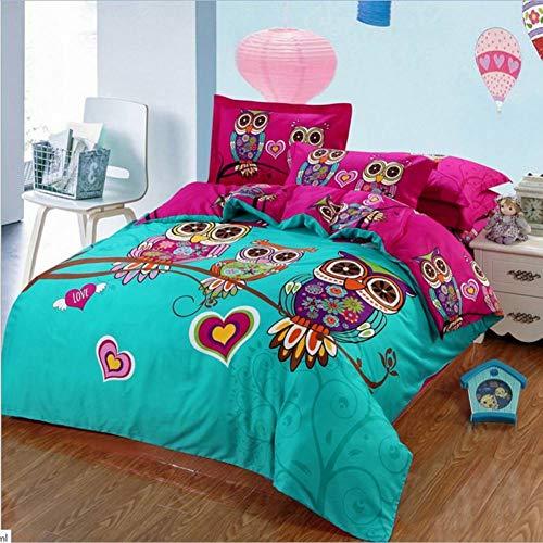 Yuexinye 4 Stücke Heimtextilien Eule Bettwäsche-Sets Kinder Bettbezug Set Kissenbezug Queen/King Size,Stil 1,Twin4pcs Spannbetttuch -
