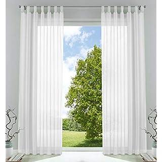 2er-Pack Gardinen Transparent Vorhang Set Wohnzimmer Voile Schlaufenschal mit Bleibandabschluß HxB 245x140 cmWeiß, 61000CN