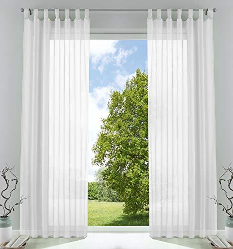 2er-Pack Gardinen Transparent Vorhang Set Wohnzimmer Voile Schlaufenschal mit Bleibandabschluß HxB 225x140 cmWeiß, 61000CN