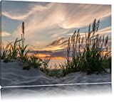 Gras am Strand bei Sonnenuntergang Format: 80x60 auf Leinwand, XXL riesige Bilder fertig gerahmt mit Keilrahmen, Kunstdruck auf Wandbild mit Rahmen, günstiger als Gemälde oder Ölbild, kein Poster oder Plakat
