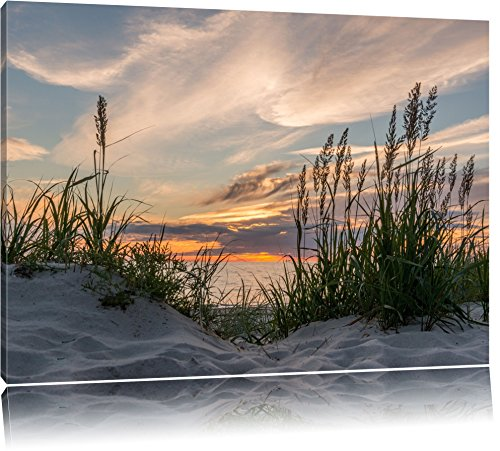 Gras am Strand bei Sonnenuntergang Format: 120x80 auf Leinwand, XXL riesige Bilder fertig gerahmt...