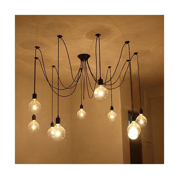 10 Lights with bulbs & remote control Edison Chandelier