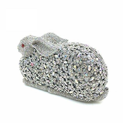 Donne Frizione Borse Strass Di Cristallo Della Frizione Sacchetti Di Sera Coniglio White
