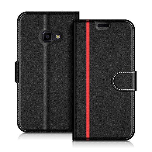 Coodio Samsung Galaxy Xcover 4 Hülle Leder Lederhülle Ledertasche Wallet Handyhülle Tasche Schutzhülle mit Magnetverschluss / Kartenfächer für Samsung Galaxy Xcover 4, Schwarz/Rot