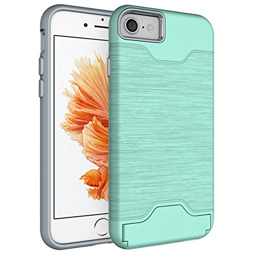 YHUISEN Neue Dual Layer Brushed Matte PC Armor + Robustes TPU Doppelter Schutz Slim Case Cover Folding Ständer Card Slot für iPhone 7 ( Color : Dark Blue , Size : IPhone 7 ) Green