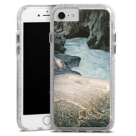 Apple iPhone 7 Bumper Hülle Bumper Case Glitzer Hülle Felsen Natur Stein