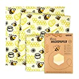 Carta cerata   Panno di cera d'api per imballaggi alimentari - riutilizzabile, lavabile e sostenibile! Confezione da 3 (33x35,5cm) alternativa ecologica al film adesivo e foglio di alluminio