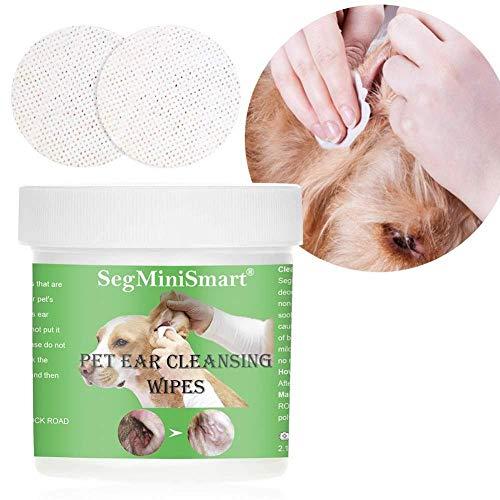 CHERRIES Ohren-Reinigungspads für Hunde und Katzen 100 Stück - Besonders weiche Pflege Reinigungstücher Sanfte Feuchttücher für die Ohren-Hygiene