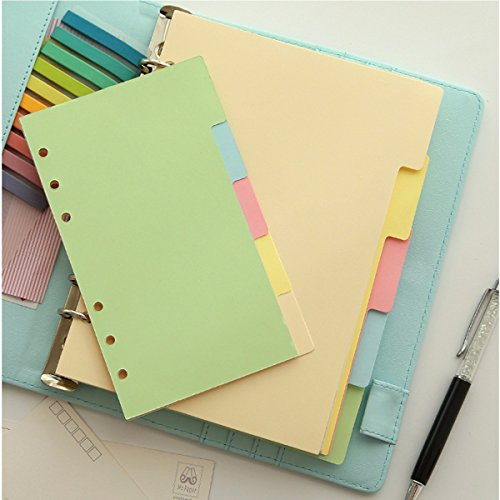 Tutoy 5Pcs A6 Größen-Index Mehrfarbige Tabs Divider Einfügen Nachfüll-Organizer Hinweis Papier